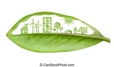 上に, 葉, 隔離された, 概念, 植物, 都市, 緑, 切口, 白