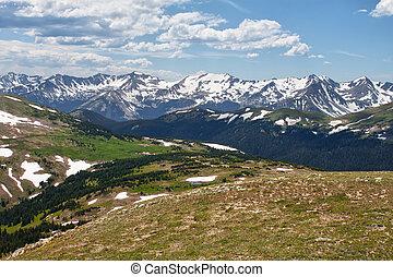 上に, 見晴らし場, colorado, 山, 岩が多い