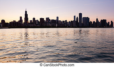 上に, 観測所, 日没, シカゴ