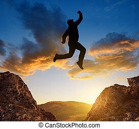上に, 跳躍, 観光客, ギャップ
