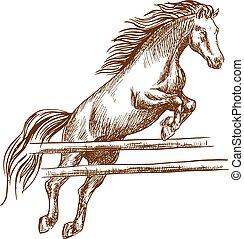 上に, 跳躍, 障壁, 馬, 高く, 野生