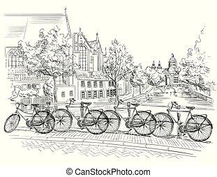 上に, 運河, netherlands, アムステルダム, bicycles, 橋