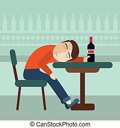 上に, 酔った, 中, 飲みなさい, pub., ビール, 眠ったままで, びん, 秋, テーブル, モデル, concept., 人