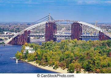 上に, 金属, river., 建設, 橋, 一時的, 概念