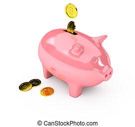 上に, 銀行, 白い背景, 小豚