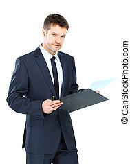 上に, 隔離された, ビジネスマンの執筆, 優雅である, クリップボード, ウエア, 背景, スーツ, タイ, 白