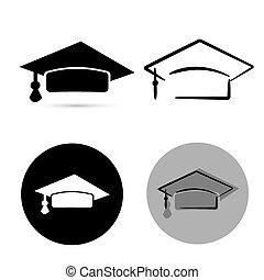 上に, 隔離された, 卒業生, バックグラウンド。, ベクトル, 黒, 白い帽子