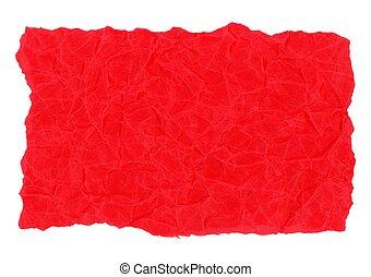 上に, 隔離された, 手ざわり, ペーパー, 背景, 白, 羊皮紙, 赤