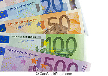 上に, 隔離された, 通貨, 背景, 白, ユーロ