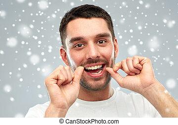 上に, 雪, フロス, 歯をきれいにする, 歯医者の, 人