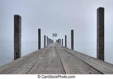 上に, 霧, boardwalk.