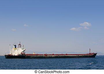 上に, 青, 海, ボート, 地中海, タンカー, オイル