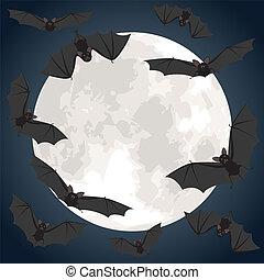 上に, 飛んでいるバット, 月