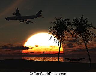 上に, 飛行, トロピカル, 飛行機, 浜, sunset.