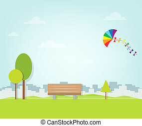 上に, 飛行, 公園, 凧