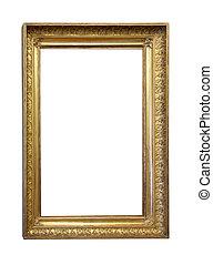 上に, 骨董品, 金, 古い, 背景, フレーム, 白