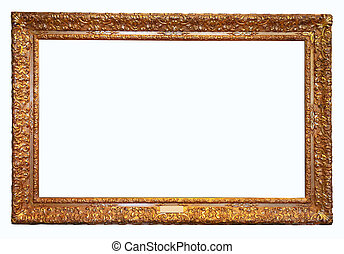 上に, 骨董品, 金, 古い, 背景, 隔離された, frame., 白