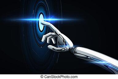 上に, 黒, ロボット, 背景, 手
