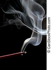 上に, 黒, incense