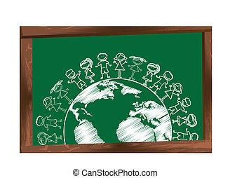上に, childrens, 黒板