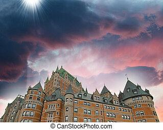 上に, de, -, frontenac, 色, 日没, ケベック, 城