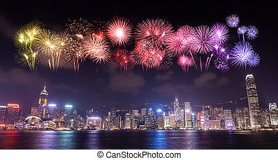 上に, kong, 都市, hong, 花火, 祝祭