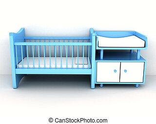 上に, newborn's, ベッド, 背景, 白