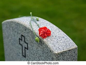 上升, 墓碑, 紅色