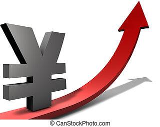 上升, 日元, 或者, 中國元