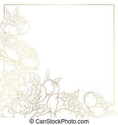 上升, 牡丹, 花, 邊框, 框架, 角落, 明亮, 金