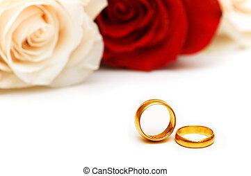 上升, 白色, 戒指, 被隔离, 婚禮