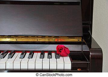 上升, 鋼琴, 紅色, 鍵盤