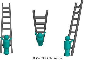 上昇, はしご, 3d