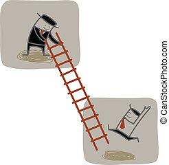 上昇, ビジネスマン, の上, はしご, もう1(つ・人), 助け