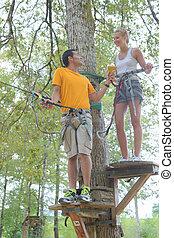 上昇, 冒険, 公園, 家族, ロープ