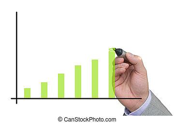 上昇, 図画, 棒グラフ, ビジネスマン