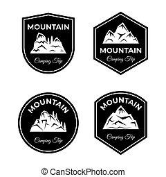 上昇, 山, badges., illustration., 旅行, ベクトル, キャンプ, セット, 旅行