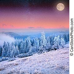上昇, 月, 上に, 凍りつくほどである, 冬, 山。
