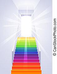 上昇, 虹, はしご, ベクトル, -