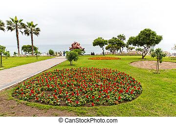 上流である, ホテル, そして, 勧誘, 中庭, そして, 庭, 上に, 湖, titikaka, ペルー, 中に,...