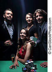 上流階級, 友人, ギャンブル, 中に, a, casino.