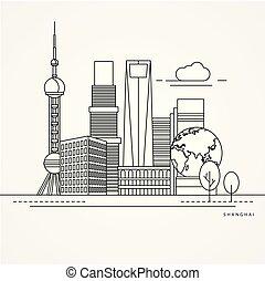 上海, イラスト, china., 線である