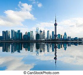 上海, スカイライン, 日中, 反射