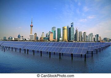 上海, ランドマーク, 太陽, スカイライン, bund, 生態学的, パネル, エネルギー