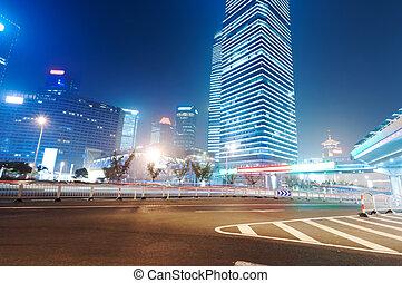 上海, 夜晚, 財政, 現代, 背景, 區域, 城市, 貿易, lujiazui, &