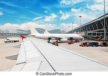上海, 空港, 駐車される, 航空機