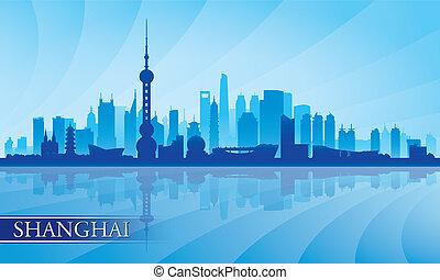 上海, 都市 スカイライン, シルエット, 背景