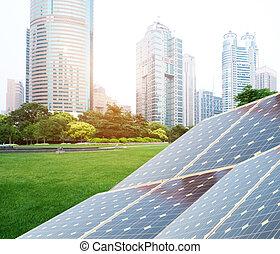 上海, bund, スカイライン, ランドマーク, エネルギー, 回復可能, 太陽 パネル, 植物