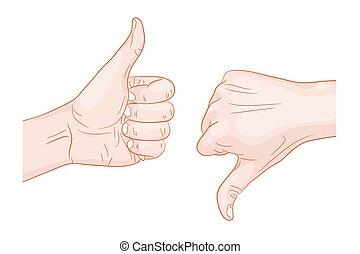 上的拇指, 拇指, 下来