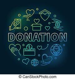 上色, 捐贈, 輪, illustration., 捐贈, 錢符號